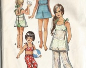 RESERVED Vintage 1970's Toddler Girl's Bathing Suit and Bell-Bottom Pants Sewing Pattern Simplicity 8813 Size 3