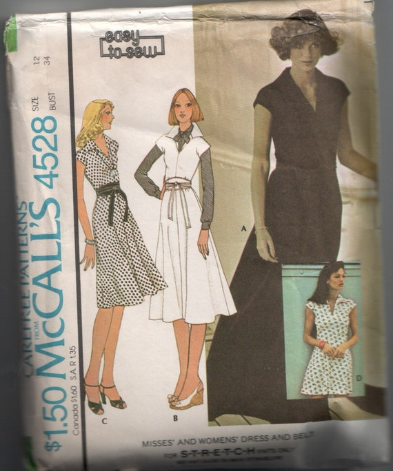 Vintage McCall's 1970's Knit Dress with Obi Style Belt Sewing Pattern 4528 34 Bust