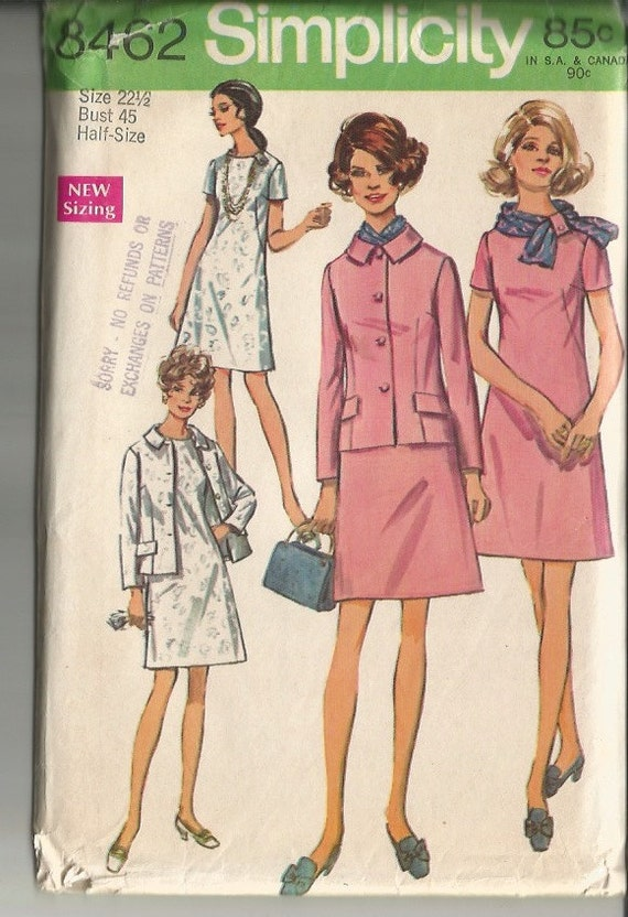 Vintage 1960's Mod Dress, Jacket and Scarf Pattern Simplicity 8462 45 Bust Half-Size Plus Size