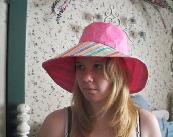 Handmade Tutti Fruiti Hot Pink / Striped Hat