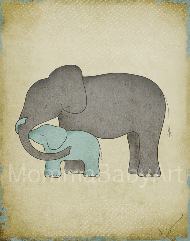 Elephant Mom & Baby Nose Rolled Together Family Home Heart ...   Mom And Baby Elephant Outline