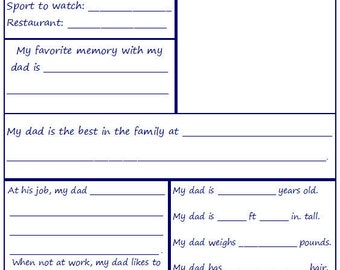 Father's Day Printable - Questionnaire for Children to Complete for Dad - INSTANT Download