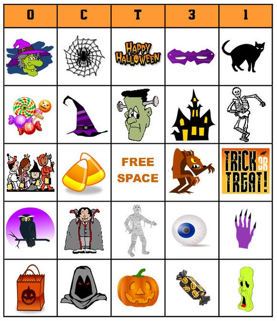 Items similar to Printable Halloween Bingo Game - INSTANT DOWNLOAD ...