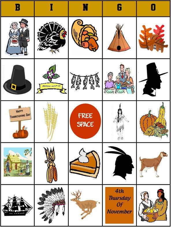 Printable Thanksgiving Bingo Game PDF File 28 boards by bigdandme