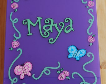 Kids Clipboard/Storage Case - Butterflies and Flowers - Hand Painted and Personalized