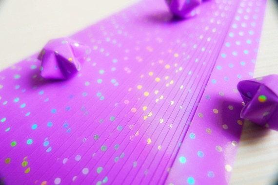 Origami Star Paper Purple Polka Dot Pattern DIY - 70 Strips (10mm)