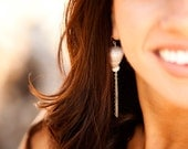 RESERVED FOR DENISE sale 50% off cone shell earrings with puka shell and sterling silver chain