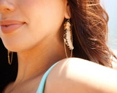 cowry shell earrings with gold chain