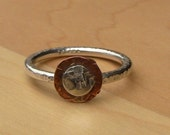 Sterling Silver and Hammered Copper Ring