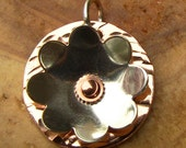 Hammered Copper with Riveted Sterling Silver Flower