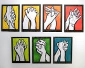 Sketch of diferent colorfull hands.