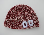 Collegiate Beanie. Crochet. Handmade. Custom. MADE TO ORDER Perfect for any High School, College or Professional Sports Team.