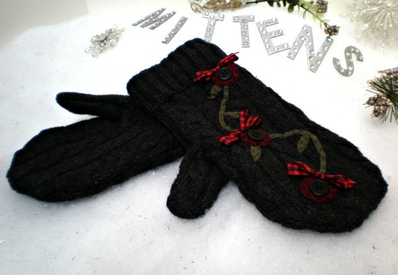 Upcycled, Recycled Repurposed Felted Wool Sweater Mittens