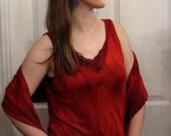 Silk knit tank top in scarlet