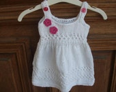 knitting white dress for baby girl 0-3 months