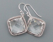 Square Crystal Glass Earrings, Bridesmaid Jewelry