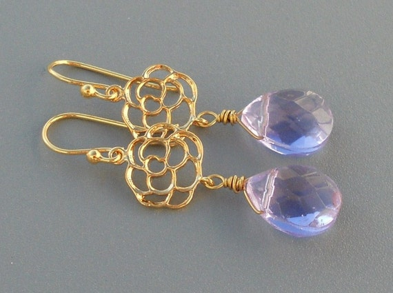 Amethyst light purple crystal and gold flower drop earrings, bridesmaid jewelry
