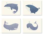 ADORABLE Cute Whale Note Cards - Set of 4