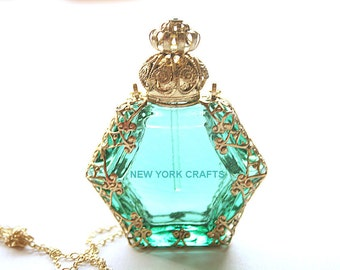 Sea Coral Perfume Bottle Necklace