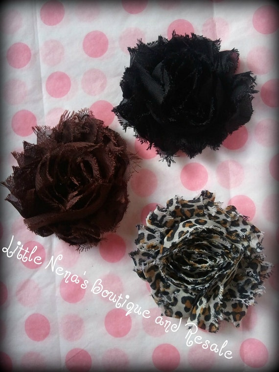 3 shabby chiffon brown black and leopard print flower clips