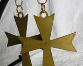 Vintage Metal Cross Earrings
