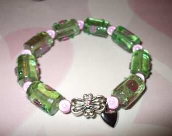 Rose lampworked stretch bracelet