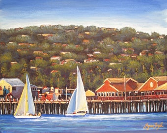 Santa Barbara Art, Sailing, Giclee Print beveled double mat, beach, harbor, cool summer breeze, sailing along