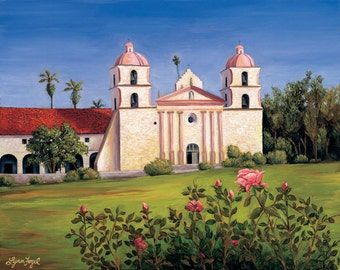 Santa Barbara Mission Giclee Prints in Gallery Wrap and beveled double mats,  an unforgettable rose garden