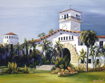 Santa Barbara Courthouse Prints in Gallery Wrap Canvas, Prints with beveled double mat