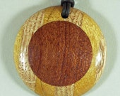 Solid Wood Necklace Woodturning made of Bubinga, Red Oak & Yellowheart