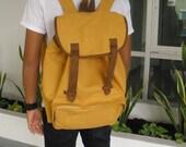 SALE 10% OFF  Mustard Backpack Canvas Bag / Shoulder Bag / Messenger Bag / Tote Handmade