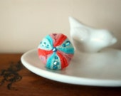 Sea urchin ring, coral pink aqua blue felt ring / pin cushion