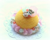 Needle felted cake ornament / home decor, soft sculpture cake, mango yellow color white cream, fake pastry