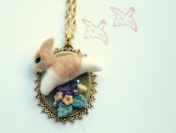 Whimsical needle felted hoping bunny with flowers pendant necklace, spring & Easter item