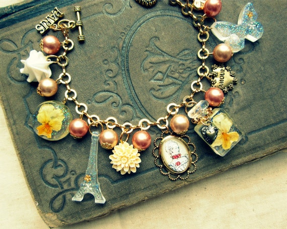 Love for Paris theme dried viola flower altered art charm bracelet, yellow flower