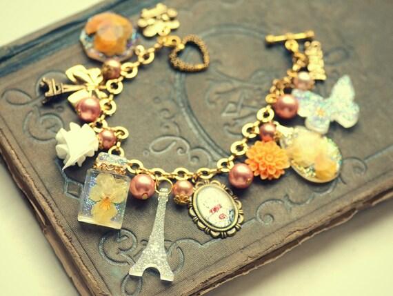 Love for Paris theme dried viola flower altered art charm bracelet, orange flower
