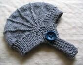 Custom Order for Sam - grey aviator hat in Merino