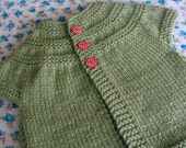 Made to order - Handknit baby cardigan in Meadow with red spotty buttons age 0 to 3 months