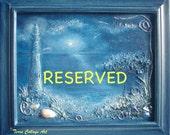 RESERVED. Reduced price 20%off. Ocean Midnight Nautical Dark Blue. Original Mixed Media Art. Beach sea shell home decor