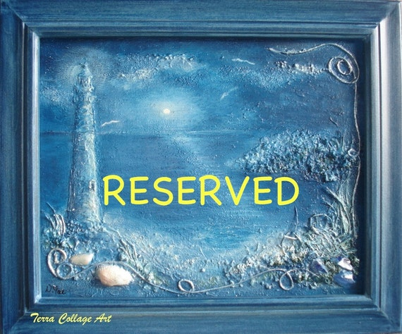RESERVED. Reduced price 20%off. Ocean Midnight Nautical Dark Blue. Original Mixed Media Art. Beach sea shell home decor