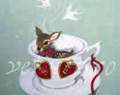 Cup of tea deer - Original acrylic painting deer in a teacup