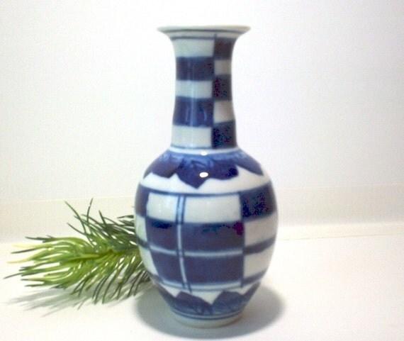 Bud vase, blue and white, FREE SHIPPING