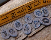 Ceramic Number Beads number Tags Charms handmade 0 through 9 set of ten