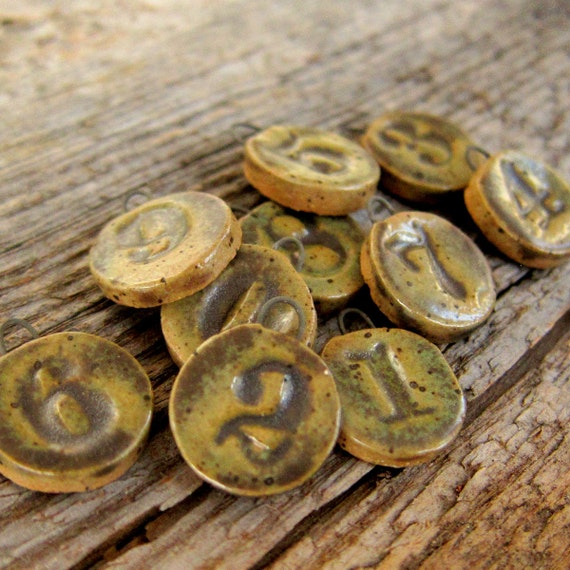 Rustic Ceramic Beads Tags Charms handmade numbers set of 10