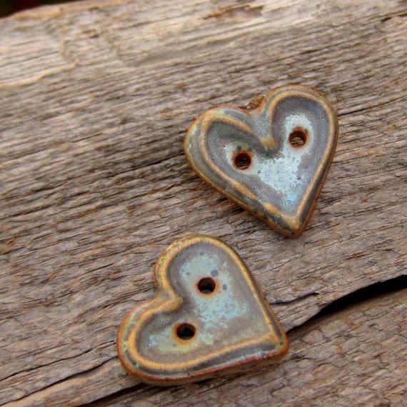 handmade ceramic buttons heart buttons stoneware buttons