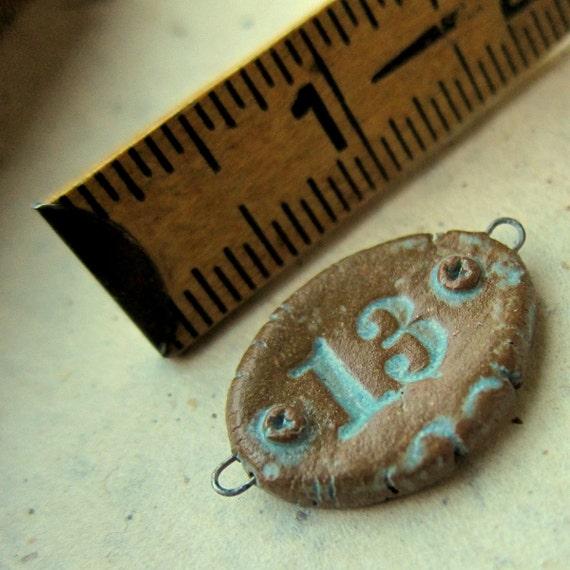 Rustic Bead handmade Number 13 ceramic connector bead