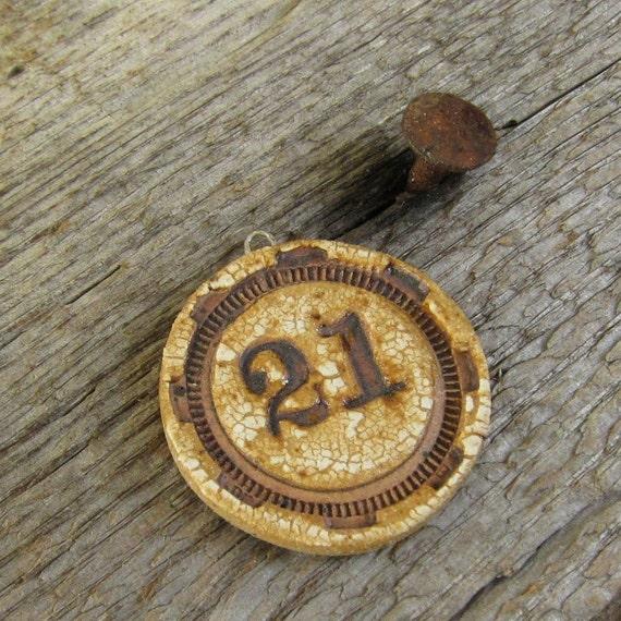 Rusty Gear Bead handmade ceramic pendant 21
