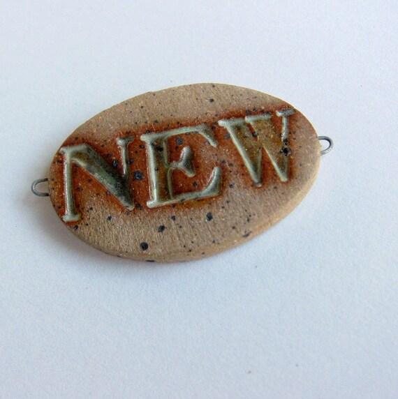 Rustic Bead handmade NEW ceramic connector bead patina green and rust natural clay