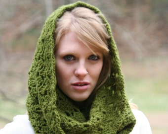 Cowl Scarf Crochet Snood Chunky Circle Scarf / THE KENSINGTON / Olive