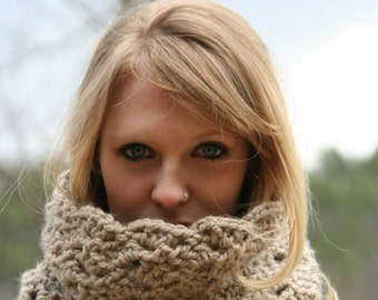 Chunky Cowl Scarf Crochet Loop Neck Warmer Scarf  THE ROCHESTER Taupe